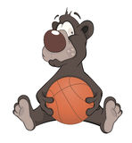 Bear with a ball cartoon Stock Photo
