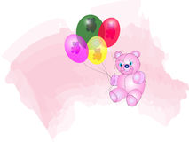 Bear and Balloons. Cute Teddy Bear with transparent balloons with more teddy's Royalty Free Stock Images