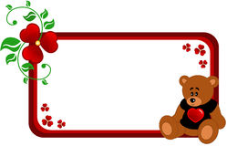 Bear banner. Abstract banner made of abstract flowers, leaf and Cartoon Teddy bear in black T-shot with red heart, isolated Stock Photo