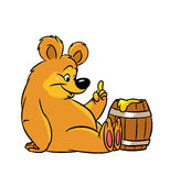 Bear barrel of honey Royalty Free Stock Photography
