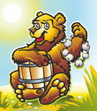 Bear with a barrel. Predator animal bear with a barrel and a bunch of garlic in a glade under the sun Stock Photography