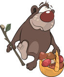 Bear with a basket with mushrooms. Cartoon Royalty Free Stock Photo