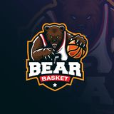 Bear basketball mascot logo design vector with modern illustration concept style for badge, emblem and tshirt printing. angry bear. Illustration with ball in royalty free illustration