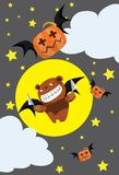 The bear bat and pumpkin bat Stock Images