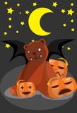 The bear bat and pumpkins Stock Photo
