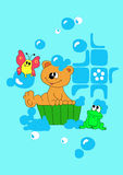 Bear is bathing in basin Royalty Free Stock Image