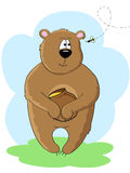 Bear and bee. A bear with honey pot in his paws looking at the bee Royalty Free Stock Images