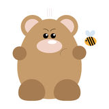 Bear and Bee Angry. Funny cartoon angry bear and his bee friend Royalty Free Stock Images