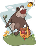Bear and bee. Cartoon Royalty Free Stock Photography