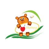 Bear and bee logo Stock Image