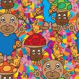 Bear bee mushroom bird seamless pattern stock illustration