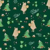 Bear and bee seamless pattern Stock Photos
