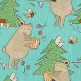 Bear and bee seamless pattern Stock Images