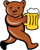 Bear Beer Mug Running Side Cartoon. Illustration of a brown bear holding a beer mug running viewed from side done in cartoon style set on isolated background Royalty Free Stock Image