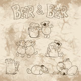 Bear and beer on the old paper Royalty Free Stock Photos
