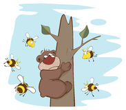 Bear and Bees. Cartoon. Brown bear on a tree in an environment of bees Royalty Free Stock Image