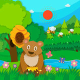 Bear and bees in the forest Royalty Free Stock Photography