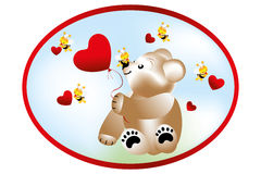 Bear with bees. Bear holding heart shape balloon and bees with hearts vector illustration