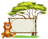 A bear and bees stock illustration