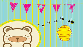 The bear and the bees. Lovely bear charactor scared of bees, with background Royalty Free Stock Image
