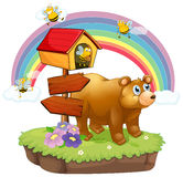 A bear and bees near the arrow boards Royalty Free Stock Photography