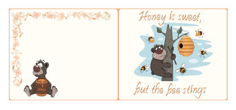 Bear and bees postcard cartoon. Cheerful card with a bear and bees Stock Photo