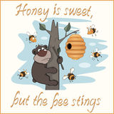 Bear and bees postcard. The bear on a tree steals honey from bees Royalty Free Stock Photography