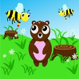Bear and bees - vector illustration, eps royalty free illustration