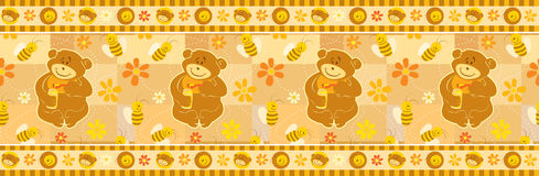 Bear and Bees wallpaper border. Easy to extend endlessly with the included brush pattern. Seamless pattern royalty free illustration