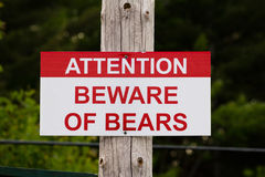 Bear Beware Sign stock photos