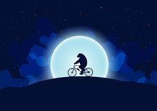 A bear on a bicycle. In the background the moon and the night sky royalty free illustration