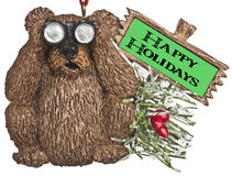 Bear with binoculars christmas ornament Stock Images