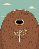 Bear with birch Stock Images