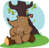 Bear and bird. Have a rest on a wood lawn under a tree vector illustration