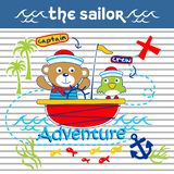 Bear and bird the sailorman funny animal cartoon,vector illustration. For t shirt and wallpaper or book royalty free illustration