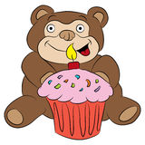 Bear with Birthday Cupcake Stock Image