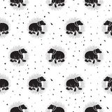 Bear black and white tribal seamless vector patterns. Stock Photos