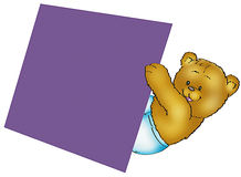 Bear with blank sign Stock Photography