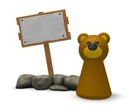 Bear and blank wooden sign. Simple bear character and blank wooden sign on white background - 3d illustration Royalty Free Stock Photography