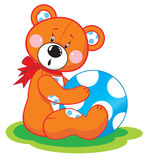 Bear with blue ball Royalty Free Stock Photography