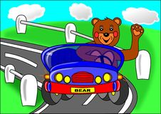 Bear and blue car Stock Images