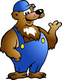 Bear in Blue Overalls Stock Image