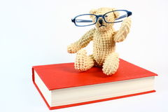 Bear on Book. A small teddy bear wears a pair of eyeglasses and sits atop a red book. Photographed against a white background Royalty Free Stock Photos