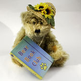 Bear Book Club With Flowers stock photos