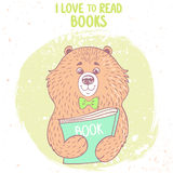 Bear and book. Stylish card with funny and cute cartoon bear with book Royalty Free Stock Photography