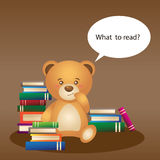 Bear with books. Simpotichnyh bear sitting with stacks of books Stock Photo