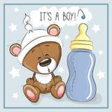 Bear boy. Cute Cartoon Teddy Bear with feeding bottle Royalty Free Stock Images
