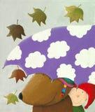 Bear and a boy under the umbrella. Acrylic illustration of bear and a boy under the umbrella Stock Photos