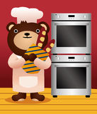 Bear and bread Stock Photography