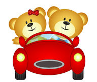 Bear brothers playing with their car toy Royalty Free Stock Photography